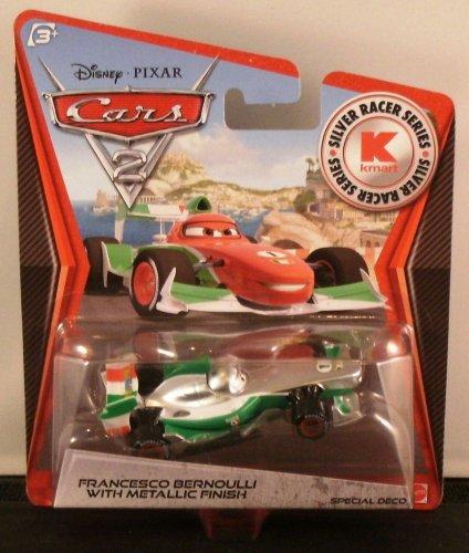 Disney Pixar CARS 2 Exclusive 1:55 Die Cast Car SILVER RACER Francesco Bernoulli With Metallic Finish - Véhicule Miniature - Voiture