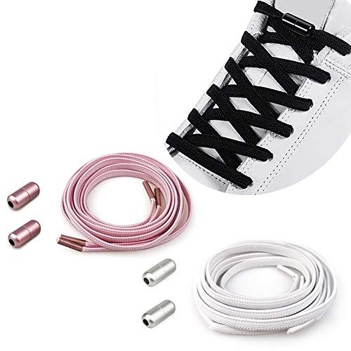 2 Pares Cordones Elásticos Sin Nudo con Hebilla Metal para Zapatillas | Elásticos Cordones para Niños /Cordones Elásticos de Goma con Botón de Metal Cordones, No es Necesario Atar Cordones de Zapatos