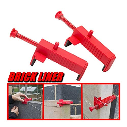 Iusun 2PCS Brick Liner Clamps Runner Wire Drawer Bricklaying Tool Fixer for Building Construction/Wall Builder Wire Rack/Fix The Clamps/Run The Line and Lay Course (Red)