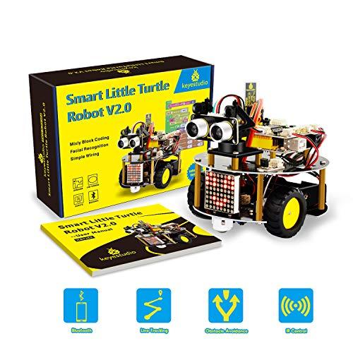 KEYESTUDIO Roboter Kit mit Tutorial, Line Tracking Modul, Ultraschallsensor, APP Steuerung via Smartphone usw. Auto Roboter Spielzeug for Arduino for Kids Teens Adults