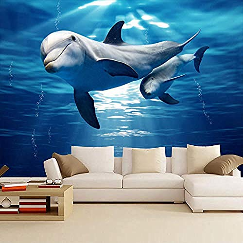 3D Wallpapers Underwater World Große Wandtapete Wandverkleidung TV Hintergrundwand Kinderzimmer Dolphin Marine Fish Wanddekoration fototapete 3d Tapete effekt Vlies wandbild Schlafzimmer-350cm×256cm