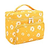 HOYOFO Big Makeup Bag for Women Girls Large Cosmetic Bags with Handle Travelling Makeup Organizer Bag with Brush Holder, Orange Daisy