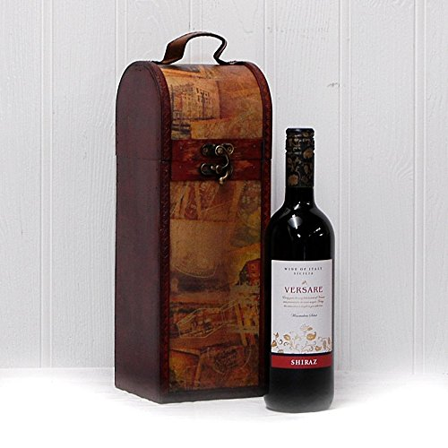 75cl Versare Red Wine in a Vintage Style Wooden Keepsake Wine Chest - Gift ideas for Mum, Mothers Day, Valentines, Business, Staff gifts, Christmas , Birthday, Congratulations and Corporate Presents, Dad, Fathers Day
