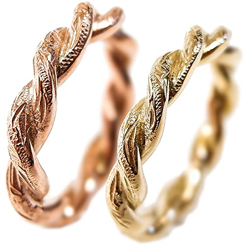 ペアリング ペアハワイアンジュエリー 指輪 バンブー ロープ カレイキニ 金属アレルギー対応 ステンレス 花 写真フレーム フラワー ゴールド:11号 ピンクゴールド:9号