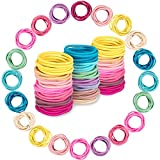 200PCS Baby Girls Hair Ties, Toddler Hair Ties for Girls and Kids, No Crease Soft and Stretchy Hair Bands,Elastic Ponytail Holders, Diameter 1 Inch and Assorted Colors