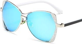 DovSnnx - DovSnnx Gafas De Sol Unisex para Hombres Y Mujers Polarizadas Protección 100% Uv400 Clásico Vintage Moda Sunglasses Montura Plateada Estampada con Lentes Azules