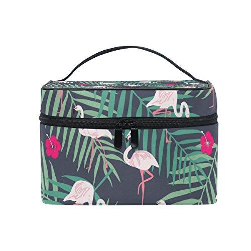 JSTEL Trousse de toilette avec motif flamant rose tropical, oiseau, feuille, fleur, poignée supérieure, fermeture éclair de qualité, sac de voyage, trousse de toilette avec sac de rangement