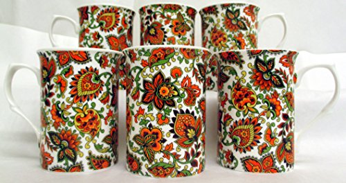 Motif cachemire Lot de 6 Mugs Tasses en porcelaine fine Motif orange Paisley décoré à la main au Royaume-Uni