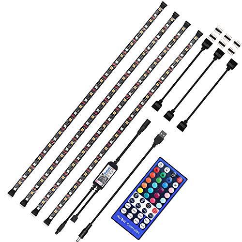YSSMAO Luz de Tira LED RGBWW USB LED Strip IR Control de Bluetooth Remoto 5050 Flexible LED Tira Impermeable de Escritorio PC TV Retroiluminación,4 x 50cm