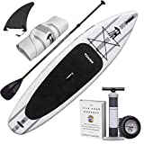 "TOWER Inflatable 10'4"" Stand Up Paddle Board - (6 Inches Thick) - Universal SUP Wide Stance - Premium SUP Bundle (Pump & Adjustable Paddle Included) - Non-Slip Deck - Youth and Adult - Adventurer 2"
