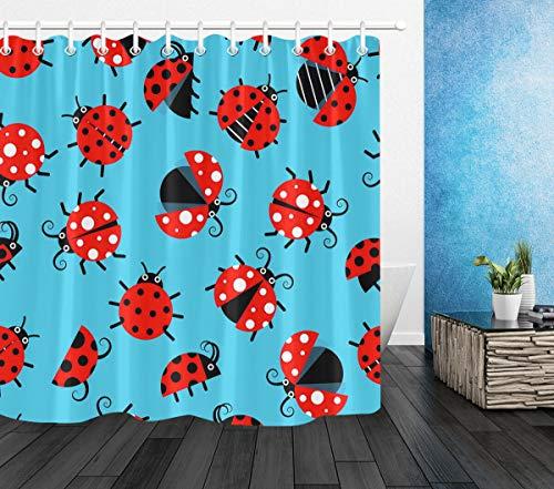 Duschvorhang mit Marienkäfer-Muster, wasserdicht, aus Stoff