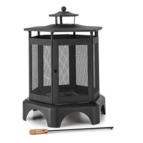Blumfeldt Mandala - tuinhaard, vuurschaal, terraskachel, open haard, gepolijst staal, vonkbescherming, lantaarnontwerp, roosteroppervlakken, lichtdeur, asbak, zwart