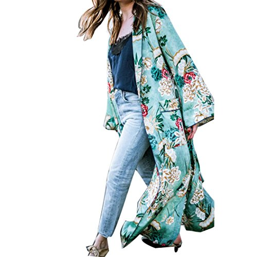 FEITONG Mujer Bohemia Floral Gassan Cardigan Tops largos del mantón del kimono largo (S, Verde)