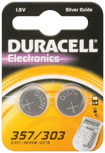 2er Set Duracell Batterie Elektronik 357/303 Silberoxydknopfzelle (SR44) 1,5V 2St SR 44/357/ 303 Duracell