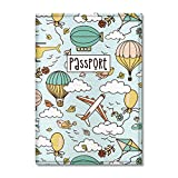 Quttie, Kids Vegan Eco Leather Passport Cover, Passport Holder (Dirigible Pattern)