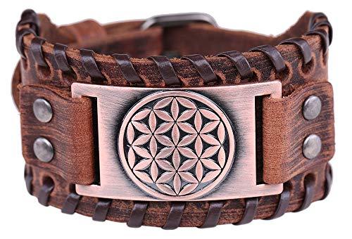Unendliche Kraft Blume des Lebens Amulett Antikes Ägypten Heilige Geometrie Charme Braunes Leder Armband Geschenk Schmuck für Männer (braunes Leder, antikes Kupfer)
