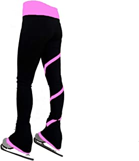 Girl's Figure Skating Practice Pants Adult Kids Color Waist Band Figure Skating Pants with Crystals Spiral