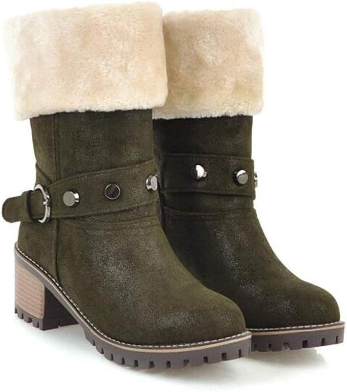 Sam Carle Women Boots, Fashion Plus Velvet Rivet Thick Heel Round Toe Ankle Boots
