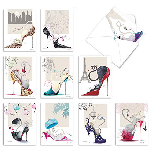 10 Cat-Themed Thank You Note Cards w/ Envelopes, All-Occasion 'Catitude Shoes' Stationery Set with Hand-Drawn Cats, Great for Weddings, Baby Showers, Holidays 4 x 5.12 inch M2324