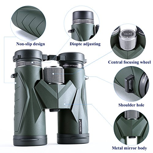 NOCOEX 10x42 Compact Binoculars for Adults and Kids, High Powered Binocular with BAK4 Prism FMC Lens Great for Bird Watching Hunting Concerts & Outdoor Sports (EX6118D)