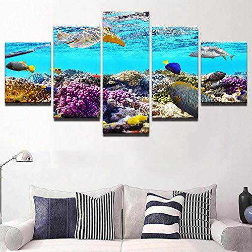 HD moderne decoratie canvas schilderij poster muurkunst 5 panelen bodem van de zeevis woonkamer gedrukt fotolijst 4 * 6/8/10inch Without Frame