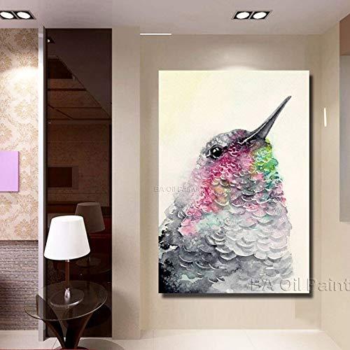 Olieverfschilderij op canvas handgeschilderd, grote afmetingen, abstract schilderij,dier grijs roze en groen vogel ladder, luxe kunst decoratie voor home ingang woonkamer slaapkamer kantoor volwassenen geschenken 40 x 60 cm