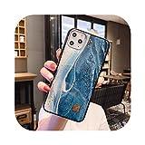 Funda de silicona de lujo para iPhone 11 Pro Xs Max X XR 6 6S 7 8 Plus Tiger Wave a prueba de golpes con purpurina protectora suave cubierta trasera de mármol azul D34 para i7 Plus i8 Plus