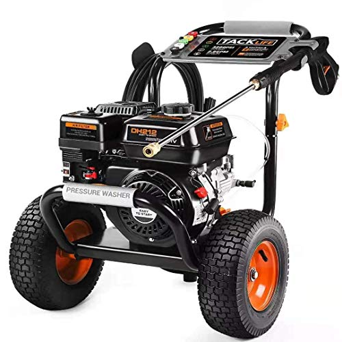 3300PSI Gas Pressure Washer TACKLIFE 6.5HP Power Engine 212cc, 30ft Pressure Hose, 5 Adjustable Nozzles, 1.2gal Large soap Tank, Energy Efficient, CARB Compliant, Ideal for Cleaning up Yards, Trucks