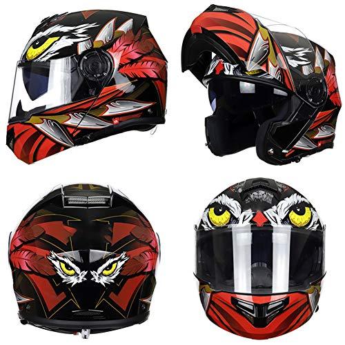 YHDQ Heren Helmen, Motorfietsen, Motorhelmen, Volledige Helmen, Vrouwen Anti-Fog Vier Seizoen Dubbele Lens Dunne Gezichtshelm, Anti-Fog Spiegels, Bluetooth Installatie stijlnaam Large Adelaar