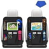 2 Stück Auto Rückenlehnenschutz, Jooheli Auto Rücksitz Organizer für Kinder, Wasserdicht Kick Matte Schutz mit 10 in Touch Screen Ipad Tablet Halter und 6 Speicherfächern für Familienreisen
