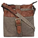 Mona B. Intermix Stone Upcycled Canvas Crossbody Bag with Vegan Leather Trim M-5029