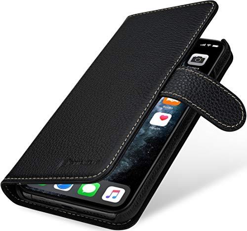 StilGut Funda Compatible con iPhone 11 Pro MAX, Carcasa Cartera con Tarjetero y Abertura Lateral del Piel auténtica, Negro