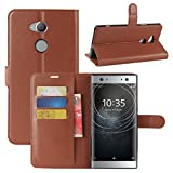 Sony Xperia XA2 Ultra Case, Fettion Premium PU Leather Wallet Flip Phone Protective Case Cover with Card Slots and Magnetic Closure for Sony Xperia XA2 Ultra Smartphone (Wallet - Brown)
