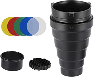 Andoer Metal Conical Snoot with Honeycomb Grid 5pcs Color Filter Kit for Bowens Mount Studio Strobe Monolight Photography Flash