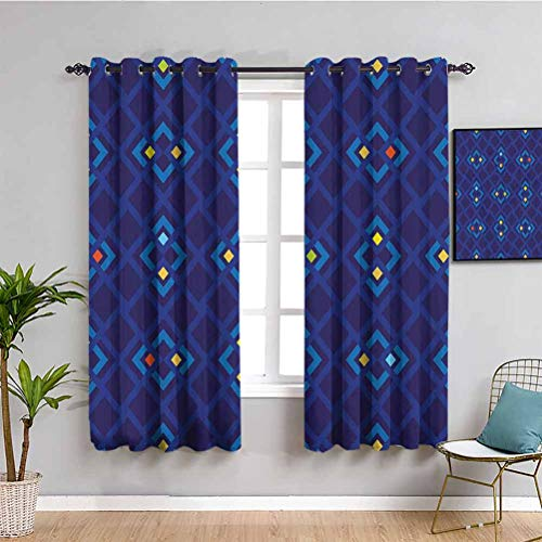 Navy Bedroom Decor Blackout Shades Abstract Shabby Chic with Geometric Inner Squares with Colors Artful Pattern 2 Panel Sets Indigo Coral Yellow W52 x L63 Inch
