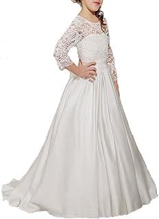 VIPbridal Mangas Blancas del Vestido de la Muchacha de Flor del cordón Blanco con el Marco