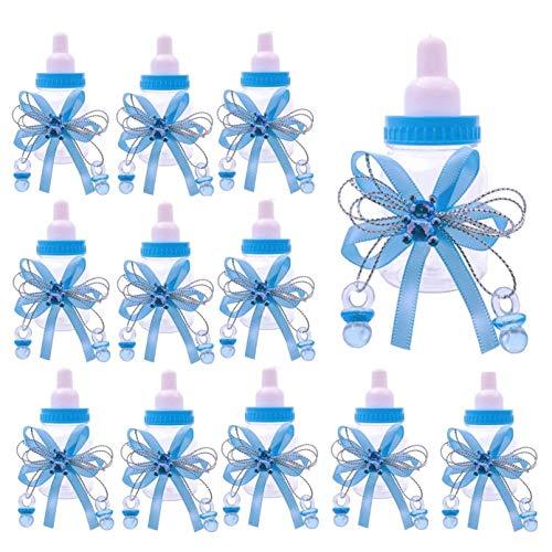 JZK 24 x Azzurro Blu biberon Bottiglia bottiglina bottigliette portaconfetti bomboniere per Battesimo Nascita Comunione Compleanno Bimbo Bambino