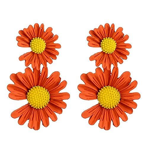FEARRIN Pendientes para Mujer Pendientes de Margaritas Dulces para Mujer Pendientes de Flores Bonitos Irregulares Pendientes de botón de Verano Accesorios Regalo de Amigo LNI1681-5