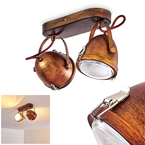 Plafondlamp Butikon, metalen plafondlamp in roestbruin/wit, 2 vlammen, met verstelbare schijnwerpers, 2 x GU10 fitting max. 7 Watt, spot in retro/vintage uitvoering, geschikt voor LED-lampen