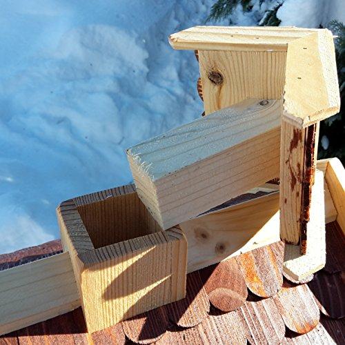 Vogelhaus-XXL mit Holzschindeln und Putzklappe lasiert Vogelhäuser-Vogelfutterhaus großes Vogelhäuschen-aus Holz Wetterschutz (Braun) - 5