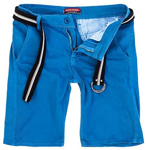 Rock Creek Herren Chino Shorts Hose Kurz Chinoshorts Inkl Gürtel Männer Sommer Bermuda Stretch Rc-2133 34 Hellblau
