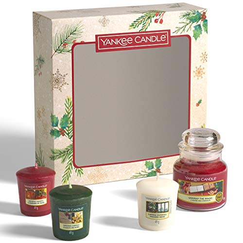 Yankee Candle Set de regalo   3 velas perfumadas de Navidad y 1 tarro pequeño   Magical Christmas Morning Collection