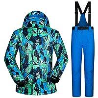 スキー服 防水服男性スキースーツ防風スキージャケットとパンツ男性の冬の暖かいスキーやスノーボードスーツジャケット+パンツ スキースーツ (Color : B, Size : XXL)