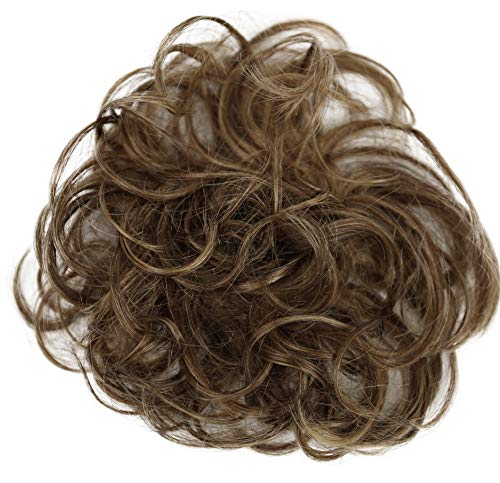 PRETTYSHOP 100% ECHTHAAR Haargummi Haarteil Haarverdichtung Zopf Haarband Haarschmuck Hellbraun Blond Mix H312p