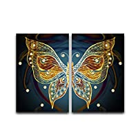 Yellow Abstract Butterfly Insect Pattern Clip Art Poster Prints Wall Art Canvas Painting Pictures for Bedroom Decoration 60x90cm No Frame