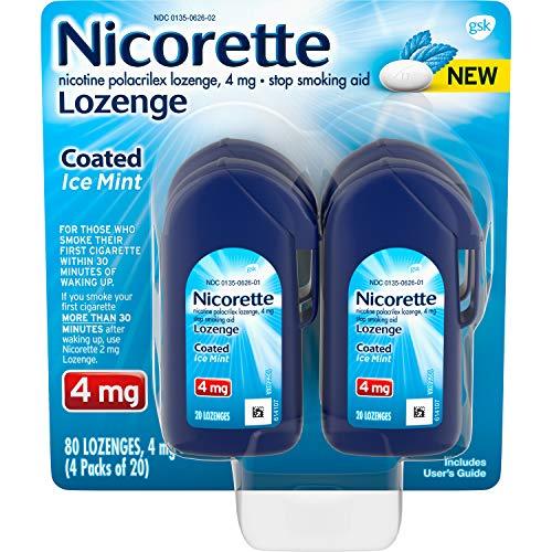 Nicorette Lozenges Coated Nicotine Lozenge to Stop Smoking, 4 Mg, Ice Mint, 80 Count