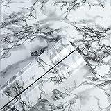 Homye Marmor Folie 60x500cm arbeitsplatte Folie selbstklebend möbelfolie klebefolie PVC wasserdicht dekorfolie für möbel küche Schrank Wand Tür Fenster (weiß)