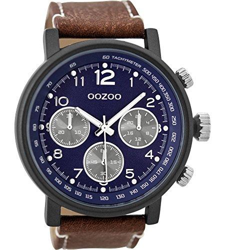 Oozoo Herrenuhr mit Lederband 48 MM Black/Blau/Braun C9456