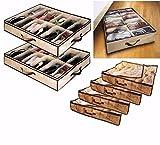 Babz Lot de 2x Organiseur pour 12Paires de chaussures boîte de rangement d'économie d'espace à glisser sous le lit