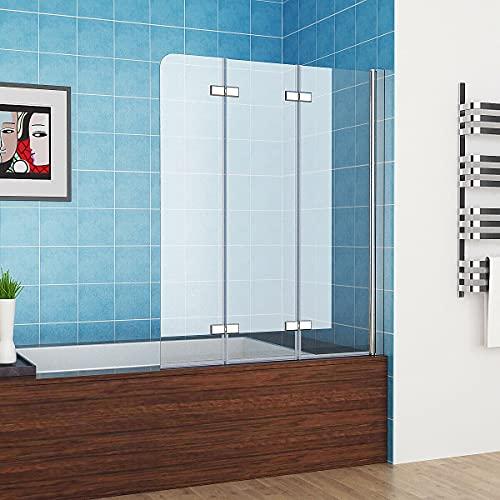 MIQU 120 x 140 cm Badewannen 3-teilig Faltwand Aufsatz 180° Duschwand Duschabtrennung 6mm Nano Glas DAY-3D